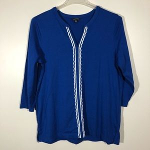 Lands End Blue Tunic with white Lace Trim …
